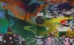 Champ d'attraction diptyque huile sur toile 162 x 260 cm 2014