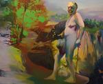 Défilé aux girolles huile sur toile 130 x 162 cm 2012