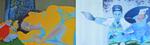 Mains armées, diptyque huile sur toile 38 x 122 cm 2009
