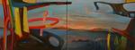Terre d'asile diptyque huile sur toile 60 x 160 cm 2015