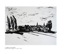 Le village aux deux églises pastel à l'huile sur papier 70 x 100 cm 2002