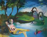 Je m'assoupis un nuage de canicule sur les genoux 130 x 162 cm huile sur toile 2014