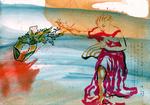 Huile et encre de Chine et pastel 20 x 28,5 cm 2017