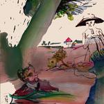 Huile et encre de Chine 28,5 x 28,5 cm 2017